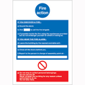 Stewart Superior Write On Fire Action Safety Sign H297xW210mm
