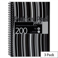Pukka Pad Jotta A5 Notebook Wirebound Plastic Punched 200 Pages Black Stripes Pack 3