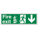 Stewart Superior Fire Exit Sign Man and Arrow Down 600x200mm Self-adhesive Vinyl