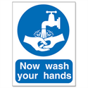 Now Wash Your Hands Please Sign PVC 200 x 150 mm