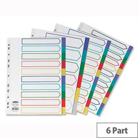 Concord 6-Part Plastic Subject Dividers Europunched A4 Assorted