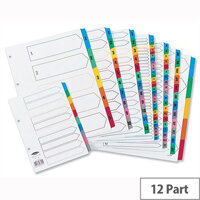 Concord Jan-Dec Index Multicolour Tabs Reinforced 4 Holes A4 Subject Dividers White