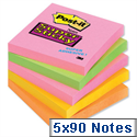 Post-it Super Sticky Notes 76x76mm Neon Rainbow Pack 5