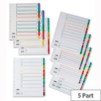 Concord Punched Pocket Dividers Plastic Multicolour Tabs 5-Part A4 White