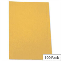 A4 Square Cut Folder Recycled Pre-punched Yellow Pack 100 5 Star