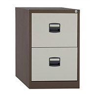 2 Drawer Steel Filing Cabinet Lockable Brown & Cream Trexus By Bisley