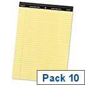 Yellow Legal A4 Pad Perforated Red Margin 50 Sheets Pack 10 5 Star