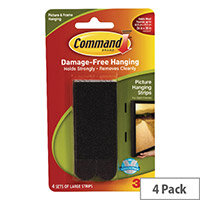 3M Command Large Picture Hanging Strips (Pack 4) Black 17206BLK