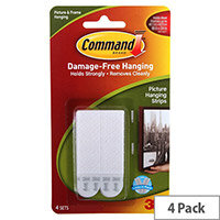 3M Command Large Picture Hanging Strips Pack of 4 Adhesive Strips White 17206