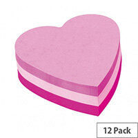 3M Post-it Die cut Cube Heart Pink 225 Sheets Pack of 12 2007H
