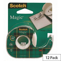 Scotch Magic Tape 19mm x 25m on Dispenser (Pack 12) 8-1925D