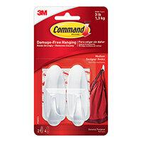 3M Command Adhesive Hook Medium White Pack of 2 17081