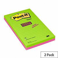 3M Post-it Super Sticky Note 127 x 203mm Ultra Colours Pk 2 5845-SSEU