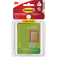 Command Wire Back Picture Hanging Hooks Value Pk with Water Resist Strips Large 3HK+6S 17043