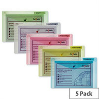 Snopake Polyfile Classic Foolscap Wallet File Assorted Pack 5