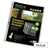 SSeco Punched Pockets Polypropylene Oxo-biodegradable Multipunched 80 micron A4 Clear Ref PP80 [Pack 50]
