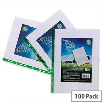 Clear A4 Punched Pockets -Snopake 60 Micron Pack 100