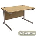Office Desk Rectangular Silver Legs W1200mm Urban Oak Ashford