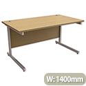 Office Desk Rectangular Silver Legs W1400mm Urban Oak Ashford