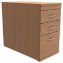 Filing Pedestal Desk-High 3-Drawer 800mm Deep Beech Trexus