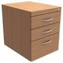 Fixed Pedestal for Cantilever Desk 3-Drawer Beech Trexus