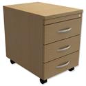 Mobile 3-Drawer Pedestal Oak Trexus