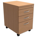 Filing Pedestal Mobile Tall Under-Desk 3-Drawer Beech Trexus