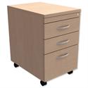Filing Pedestal Mobile Tall Under-Desk 3-Drawer Maple Kito