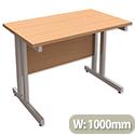 Trexus Contract Plus Cantilever Rectangular Return Office Desk Silver Legs W1000xD600xH725mm Beech