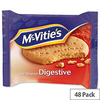 McVities Digestive Plain Biscuits Portion Packs Individually Wrapped in Two Biscuits (Pack 48) 4802