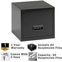 Pierre Henry A4 1 Drawer Steel Filing Cabinet Lockable Black