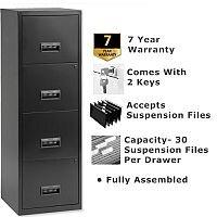Pierre Henry A4 4 Drawer Steel Filing Cabinet Lockable Black