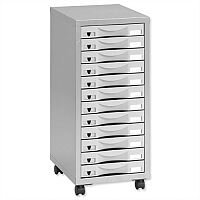 Storage Cabinet Steel 12 Drawers Silver/Grey Height 660mm Pierre Henry