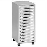 Storage Cabinet Steel 12 Drawers Silver/Grey Height 660mm Pierre Henry