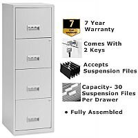 Pierre Henry A4 4 Drawers Filing Cabinet Steel Lockable Grey