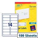 Avery Quickdry Inkjet Label 14 Per Sheet (Pack of 100)