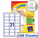 Avery L7160-500 Laser Address Labels 63.5x38.1mm White (10.500 Labels)
