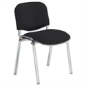 Fabric Upholstered Stacking Chair With Chrome Legs Black
