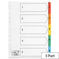 1-5 A4 Index White Coloured Tabs 5 Star