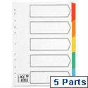 5 Part Index A4 White Coloured Tabs 5 Star