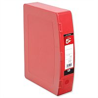 5 Star Foolscap Box File Red Plastic Twin Clip Lock 70mm Spine Polypropylene