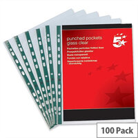5 Star Punched Pocket Polypropylene Top-opening 45 Micron A4 Glass Clear Pack 100