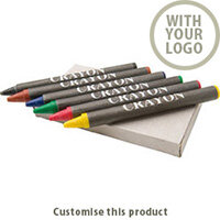 6 piece crayon set 46489 - Customise with your brand, logo or promo text
