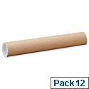 Postal Tubes Cardboard with Plastic End Caps (Pack 12)