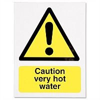 Stewart Superior Sign Caution Very Hot Water W75xH50mm Self-adhesive Vinyl Pack of 5
