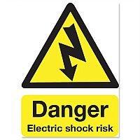 Stewart Superior Safety Sign Danger Shock Risk 200x150mm Self-adhesive Vinyl