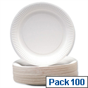 Disposable Paper Plates 9 Inch White (100 Pack) 0511041