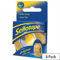 Sellotape Original Golden Tape Roll 18mmx25m Retail Pack Pack 8