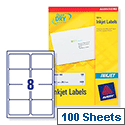 Avery Quickdry Inkjet Label 8 Per Sheet (Pack of 100)