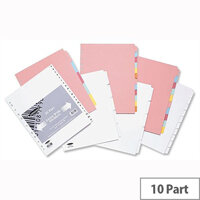 Concord Extra Wide 10 Part Subject Dividers A4 White